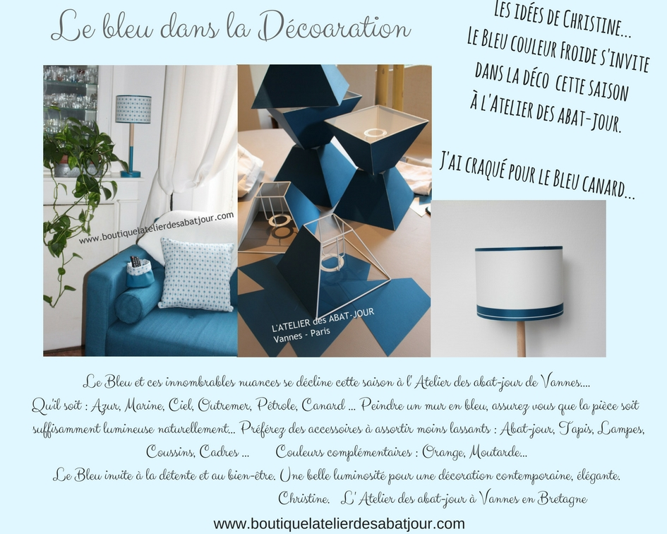 abat jour bleu canard l 39 atelier des abat jour. Black Bedroom Furniture Sets. Home Design Ideas