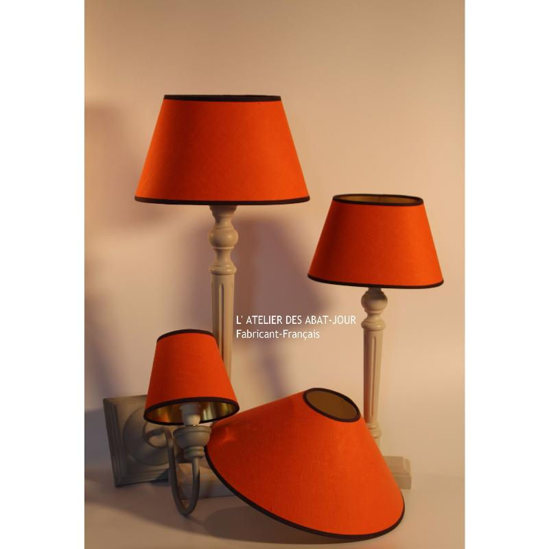 lampe abat jour orange l 39 atelier des abat jour. Black Bedroom Furniture Sets. Home Design Ideas